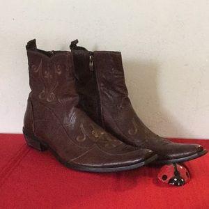 Aldo Cowboy Boots Brown Leather Sz 45